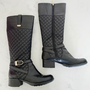 Bandolino | Tall Black Quilted Leather Boots Sz.7
